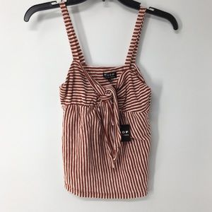 🦋Poof Striped spaghetti strap top tie front